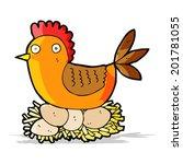 cartoon hen on eggs | Shutterstock .eps vector #201781055