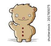 cartoon waving teddy bear   Shutterstock .eps vector #201785075