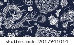 tigers and dragons. japanese... | Shutterstock .eps vector #2017941014