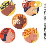 job and great job stickers logo.... | Shutterstock .eps vector #2017961411
