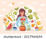 girl preparing vegan cocktail.... | Shutterstock .eps vector #2017964654