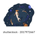 person walking in unknown space ... | Shutterstock .eps vector #2017972667