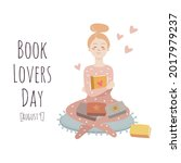 book lovers day. a young girl...   Shutterstock .eps vector #2017979237