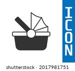 grey baby stroller icon... | Shutterstock .eps vector #2017981751
