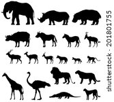 African Animals Silhouettes Se...