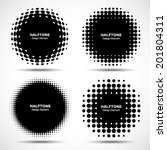 Set Of Abstract Halftone Desig...