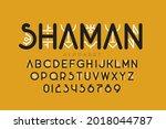 tribal shamanic style font... | Shutterstock .eps vector #2018044787