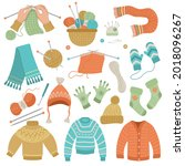 knitted wool clothes. hands... | Shutterstock .eps vector #2018096267
