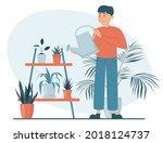 man watering plants in pots... | Shutterstock .eps vector #2018124737