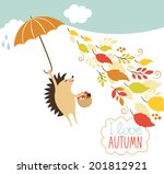 cute hedgehog fly with umbrella | Shutterstock .eps vector #201812921