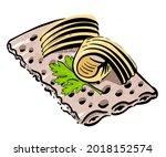 butter on crispy bread. hand...   Shutterstock .eps vector #2018152574