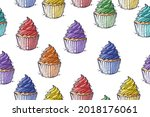 seamless pattern of cupcakes of ...   Shutterstock .eps vector #2018176061