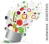 sliced vegetables in saucepan...   Shutterstock .eps vector #2018193101