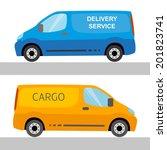 blue and orange delivery vans...   Shutterstock .eps vector #201823741