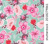 artistic hand paint floral... | Shutterstock .eps vector #2018279861