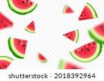 falling fresh ripe watermelon... | Shutterstock .eps vector #2018392964