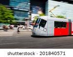modern tram blurred in motion...   Shutterstock . vector #201840571