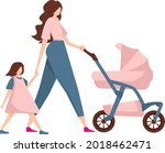 a woman on a walk with children.... | Shutterstock .eps vector #2018462471