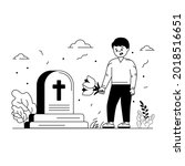 grave cleaning glyph style... | Shutterstock .eps vector #2018516651