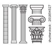 set of doric  ionic and... | Shutterstock .eps vector #201854527