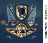 set of emblems speedwey six... | Shutterstock .eps vector #201855277