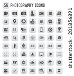 56 photography icons black... | Shutterstock .eps vector #201856891