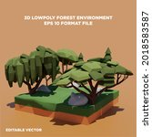 3d low poly forest environment...   Shutterstock .eps vector #2018583587
