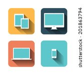 set of flat icons about devices | Shutterstock .eps vector #201863794