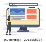 female web designer using... | Shutterstock .eps vector #2018668334