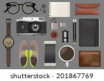 vector icon set accessories... | Shutterstock .eps vector #201867769