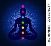 yoga meditation  man meditating ...   Shutterstock .eps vector #2018678267