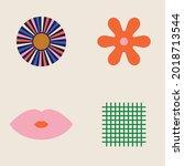 70s retro collection set  ... | Shutterstock .eps vector #2018713544