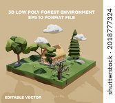3d low poly forest with old... | Shutterstock .eps vector #2018777324