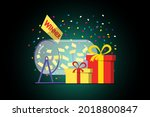 prize raffle rotating drum with ... | Shutterstock .eps vector #2018800847