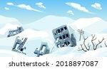 ice age. cartoon game landscape ... | Shutterstock .eps vector #2018897087