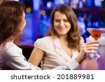 two young pretty women at bar... | Shutterstock . vector #201889981