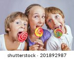 group of happy children eating... | Shutterstock . vector #201892987