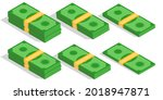 isometric dollar banknotes in...   Shutterstock .eps vector #2018947871