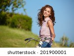 sexy woman with vintage bike in ... | Shutterstock . vector #201900001