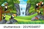 many toucan birds in forest or... | Shutterstock .eps vector #2019036857