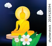 buddhism big buddha sit banner...   Shutterstock .eps vector #2019130394