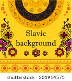 slavic background with flowers...   Shutterstock .eps vector #201914575