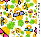 pineapple cool with glasses... | Shutterstock .eps vector #2019155804
