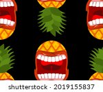 angry pineapple screams pattern ... | Shutterstock .eps vector #2019155837
