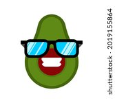 avocado with glasses isolated.... | Shutterstock .eps vector #2019155864