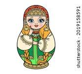 russian traditional nest doll... | Shutterstock .eps vector #2019158591