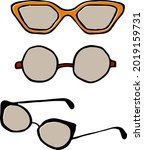 set of glasses icons. vector... | Shutterstock .eps vector #2019159731