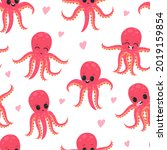 cute funny pink octopus with... | Shutterstock .eps vector #2019159854