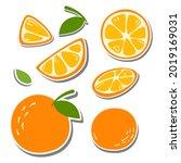 eight flat elements orange set. ... | Shutterstock .eps vector #2019169031