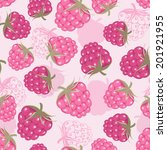 seamless pattern with raspberry.... | Shutterstock .eps vector #201921955